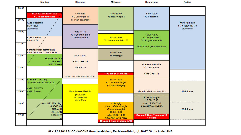 Stundenplan Medizin Rostock
